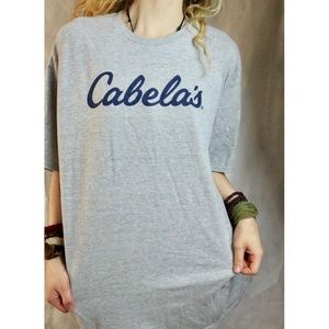 Cabela's Logo Navy Blue Short Sleeve Tee Shirt !